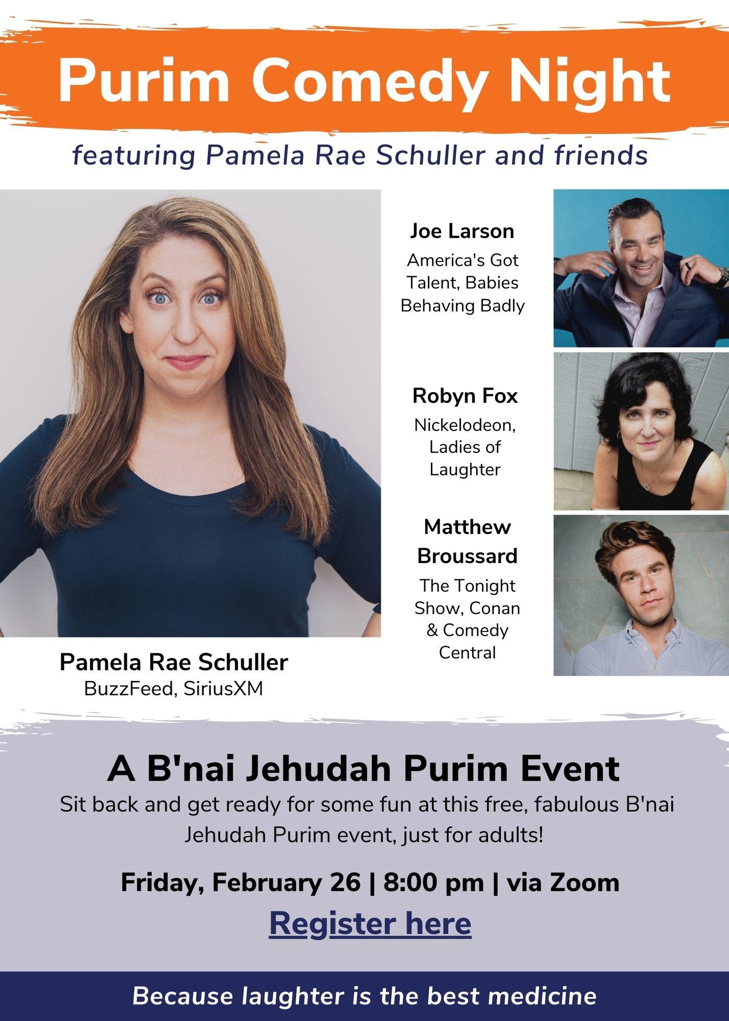 Purim Comedy Night Invite